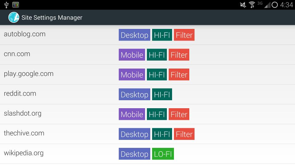 Aplikace [4.0 +] Atlas Webový prohlížeč: Ad / Soukromí filtry + materiálovém provedení SiteSettingsManager